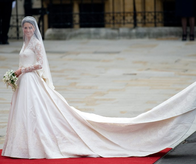 Catherine's incredible gown, which at the time was estimated to have cost around £40,000 or $AUD75,000, was designed by Alexander McQueen and was hand-crafted using the Carrickmacross lace-making technique.