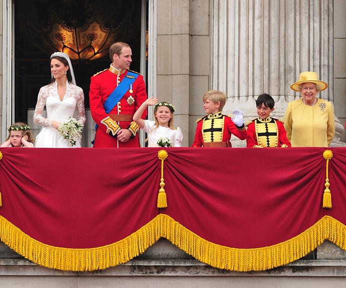 The British Royal Family emerge on the iconic balcony of Buckingham Palace, to greet the thousands of citizens who stood waiting to congratulate the new Duke and Duchess.