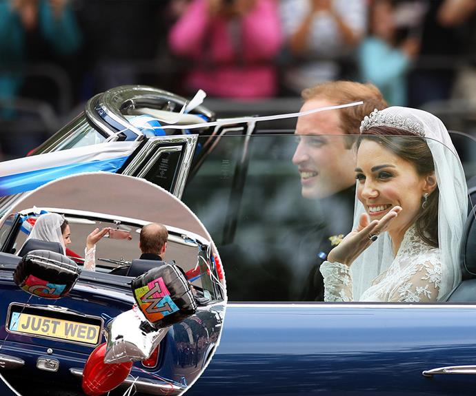 "And that's a wrap! Fresh from their wedding bliss, the royal couple performed a victory lap - not in a horse and carriage this time, but rather a vintage blue Aston Martin with a super sweet number plate that read, ""JU5T WED""."
