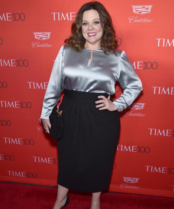 The comedienne stunned on the red carpet in a silver blouse and figure-hugging black pencil skirt.