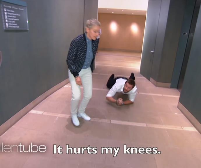 Ellen made Chris commando crawl so as to not alert suspicion.