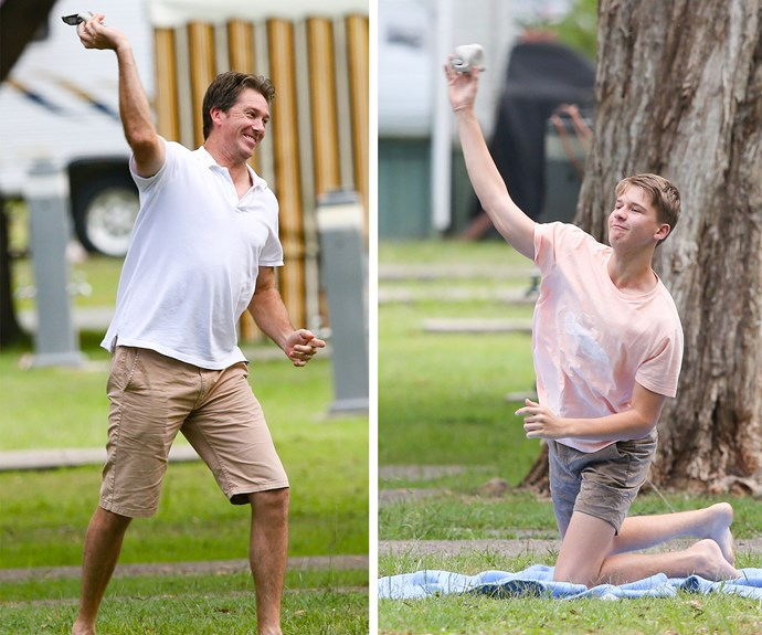 Clearly James takes after his cricketing legend dad!
