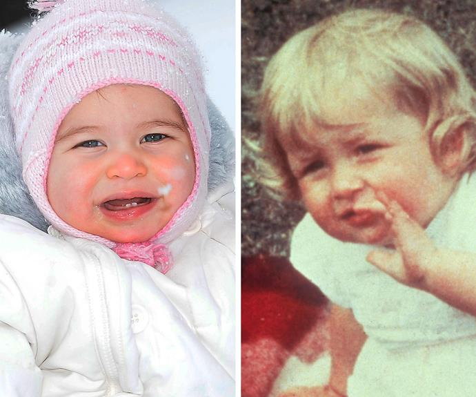 Princess Charlotte Elizabeth Diana of Cambridge is so like her grandmother, the late Princess Diana (pictured on the left at her first birthday party). The pair share the same pretty almond eyes and rosy cherub cheeks (made famous by her big brother Prince George!)