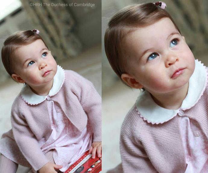The royal one-year-old looks like a sweet cherub in this shot. The photos were taken in April at their Anmer Hall residence in Norfolk. (Photo: HRH The Duchess of Cambridge)
