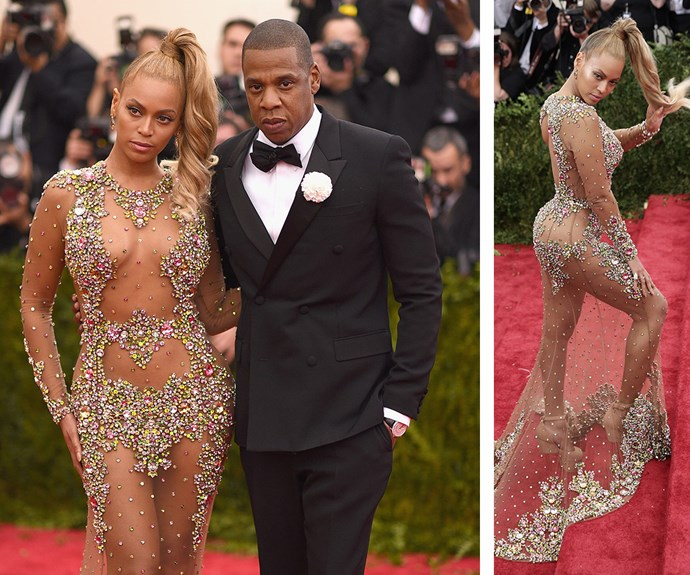 The 2015 Met Gala was the year of the barely-there dress, and as always, Beyonce ruled in this glitzy Givenchy number.