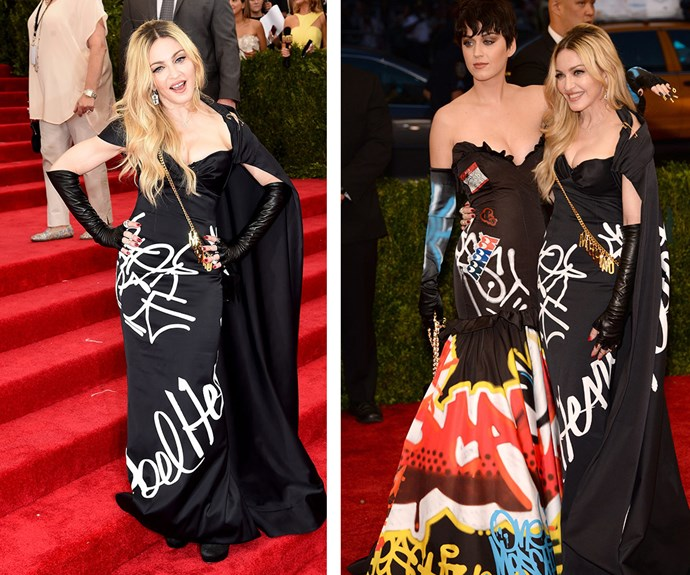 Madonna showed off her rebellious side in this statement Moschino gown, complete with high gloves and a cape at last year's event. Although perhaps her and Katy Perry should have coordinated their outfits before the big day!