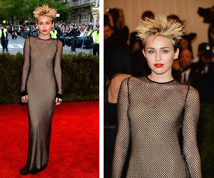 This Marc Jacobs fishnet gown definitely made a statement, but it was the spiked hair that had everyone talking about Miley Cyrus!