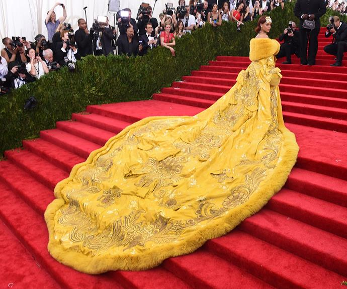 How could we possibly forget Rihanna's show-stopping, yellow Guo Pei dress from last year's Gala.