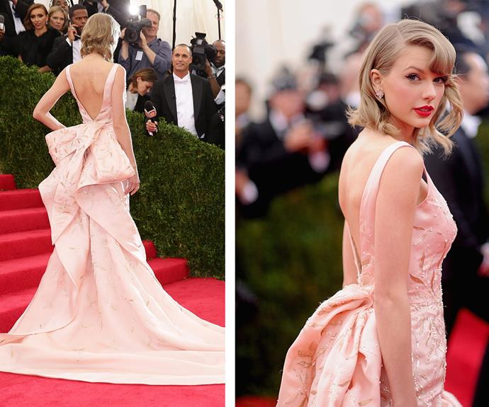 This custom Oscar de la Renta gown worn by Taylor Swift was a standout at the 2014 event.