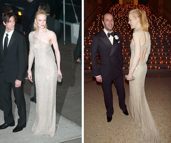 We're torn about Nicole's glittering sheer gown of 2003...