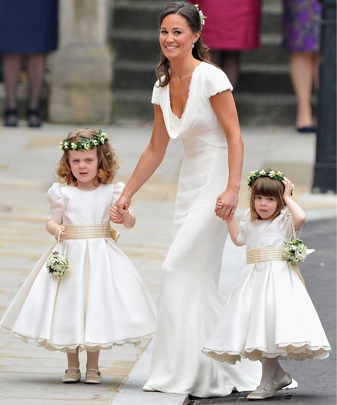 The cutie with Pippa Middleton and fellow flower girls Eliza Lopes.