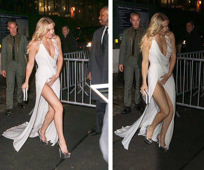 Kate Hudson encountered a close call with her second gown of the evening. The blonde beauty was seen holding the front of her dress down as she made her way in to the Up and Down night club in New York.