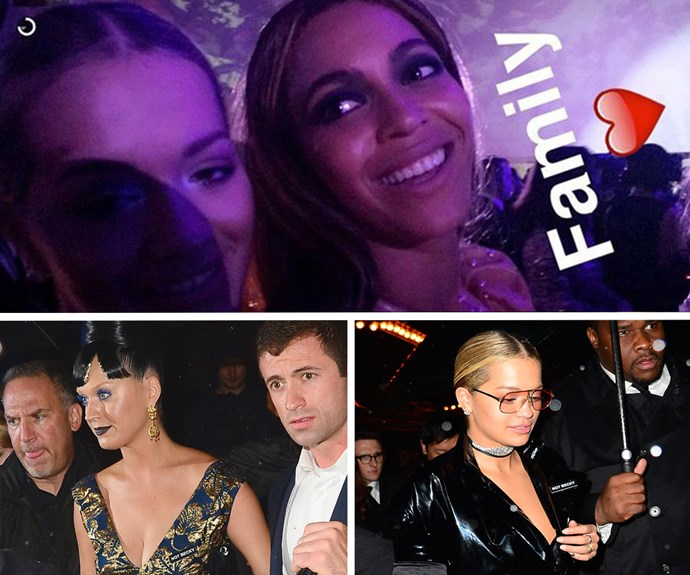 "After the seemingly [never-ending drama that followed the scandalous release of Beyonce's *Lemonade*](http://www.womansday.com.au/celebrity/hollywood-stars/rita-ora-addresses-jay-z-affair-rumours-15233|target=""_blank""), fans speculated that Rita Ora and Bey's friendship was a thing of the past. But as it happens, the singers are stronger than ever! Rita snapped this pic on Snapchat as proof, and both her and Katy Perry donned 'Not Becky' badges as they celebrated!"