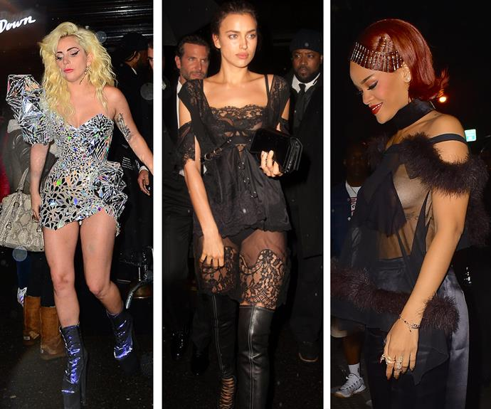 When it came to outfits, it seemed that less was more for some guests. Rihanna dared to go bare in a sheer shirt, Lady Gaga kept her hemline high in this glitzy silver mini dress, whilst Bradley Cooper's girlfriend Irina Shayk was all lace.
