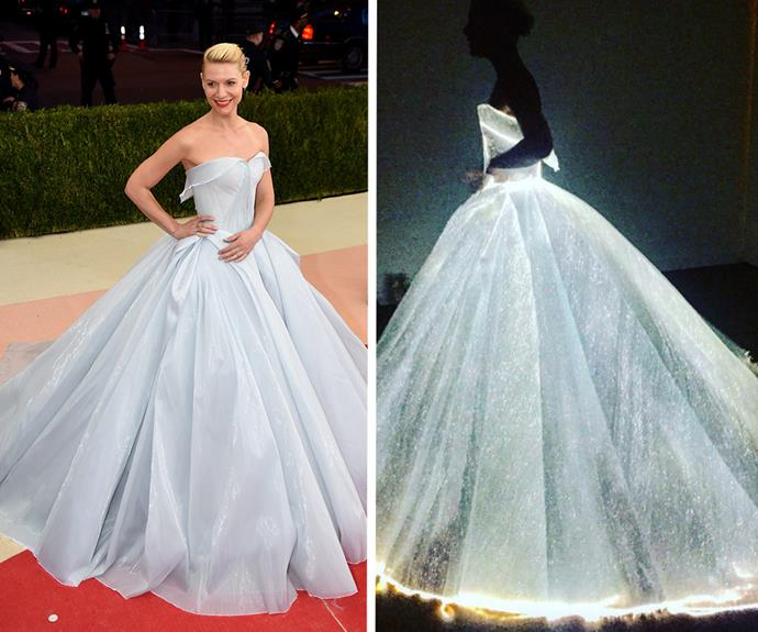 Claire Danes was an actual Cinderella as the bright lights went down and the night approached. This dress definitely won the Met Gala!
