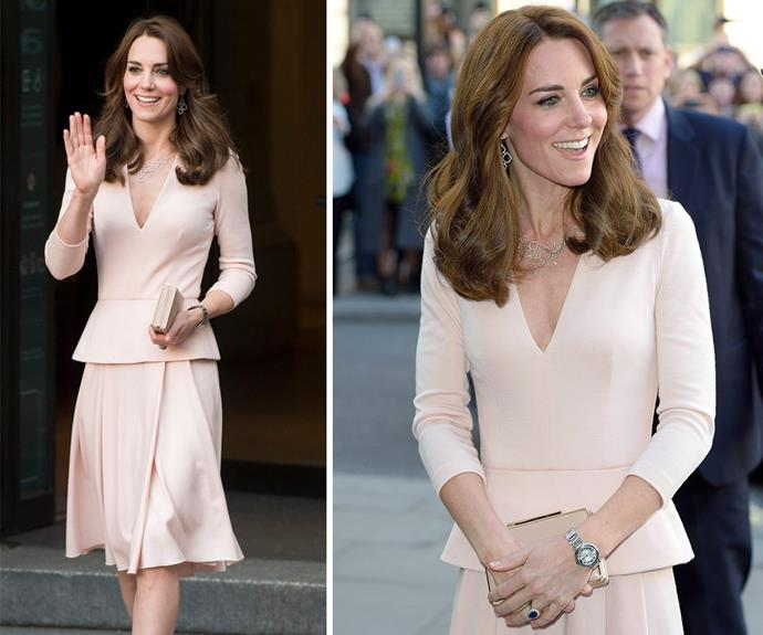 Duchess Catherine looked stunning in a pastel pink ensemble as she visited the *The Vogue 100: A Century Of Style Exhibition* in London on Wednesday.