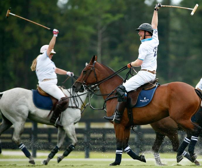 Captain Wales celebrates a winning move during the polo tournament.
