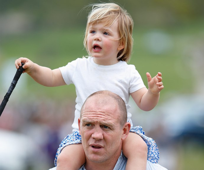 As Zara competed, proud dad Mike Tindall carried the two-year-old on his shoulders.