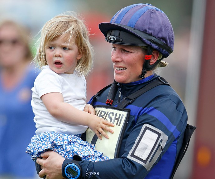Mummy's biggest fan! Zara Phillips' only daughter Mia was there to cheer on the royal as she competed in the Badminton horse trials on Saturday, May 7, in Badminton, England.