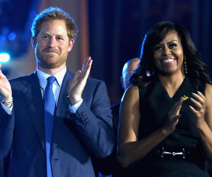 Prince Harry and Michelle Obama have come together with a friendly rivalry, over whether the US or the UK will place first at the Invictus Games for wounded former servicemen.