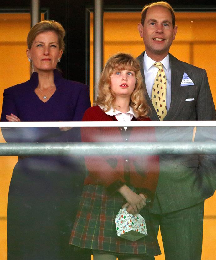 With her parents, mum, Sophie, and the Queen's youngest, Prince Edward.