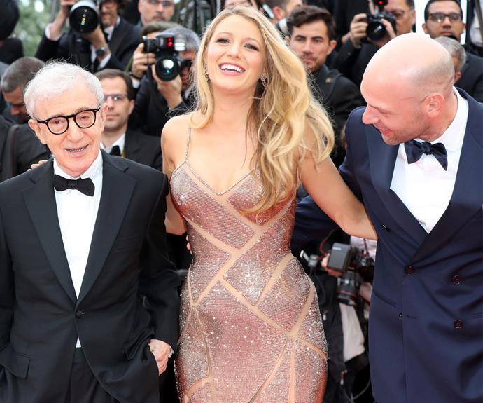 Everyone was excited to see Blake's bump! Here the starlet poses with Woody Allen and Cory Stoll.