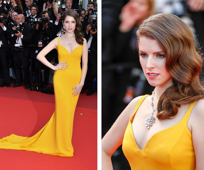 Anna Kendrick rocked old Hollywood waves with her canary yellow gown.