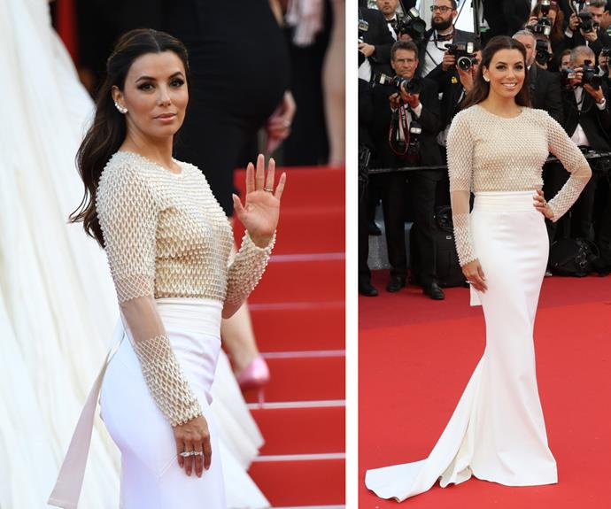 Give us a wave! Eva Longoria looked a dream in this figure-hugging, white two-piece ensemble.
