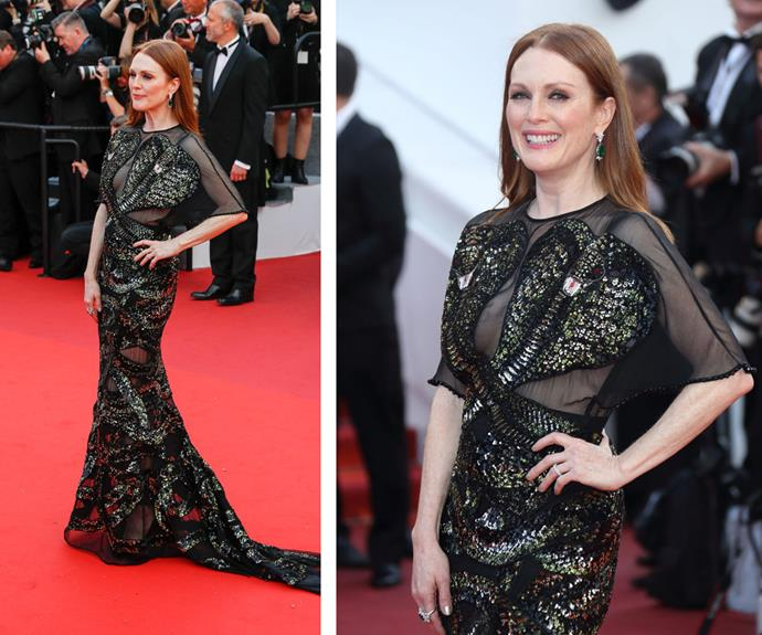 Julianne Moore channeled Black Swan in this beaded black gown with sheer panels.