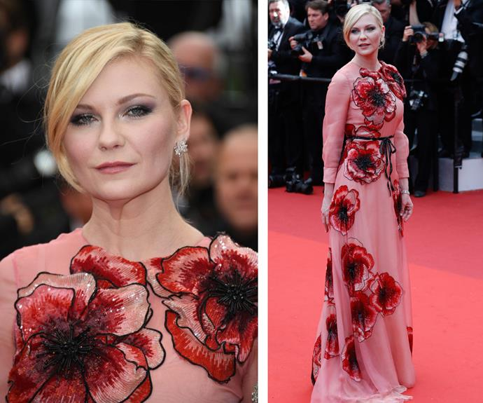 Kirsten Dunst was pretty in pink in a beaded floral gown.