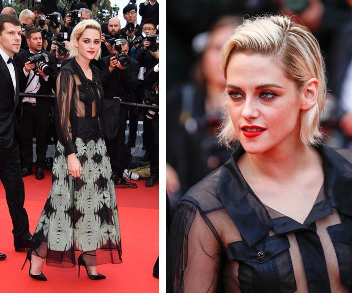 Hollywood's edgiest A-lister, Kristen Stewart, rocked a daring, sheer shirt with a patterned skirt.