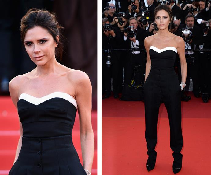 Victoria Beckham put her edgy spin on this strapless, black pantsuit.