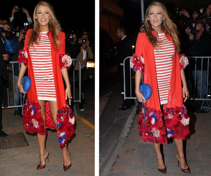 Blake went for yet another bold red number with this striped evening outfit.