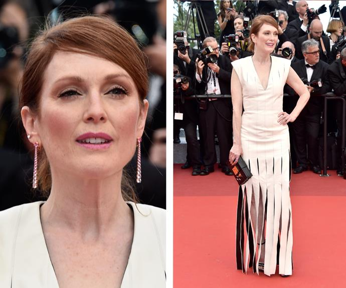 Julianne Moore donned a daring leather dress with a shredded skirt.