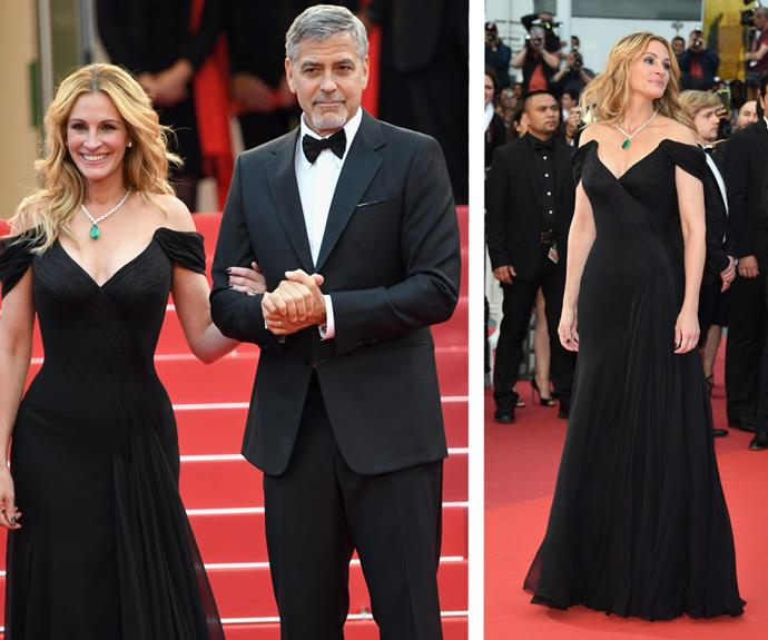 Julia Robert's arrives on the scene in a glamorous black gown with her *Money Monster* co-star, George Clooney.