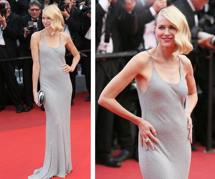 The blonde beauty went with a figure-hugging, beaded silver slip dress for her second outfit.