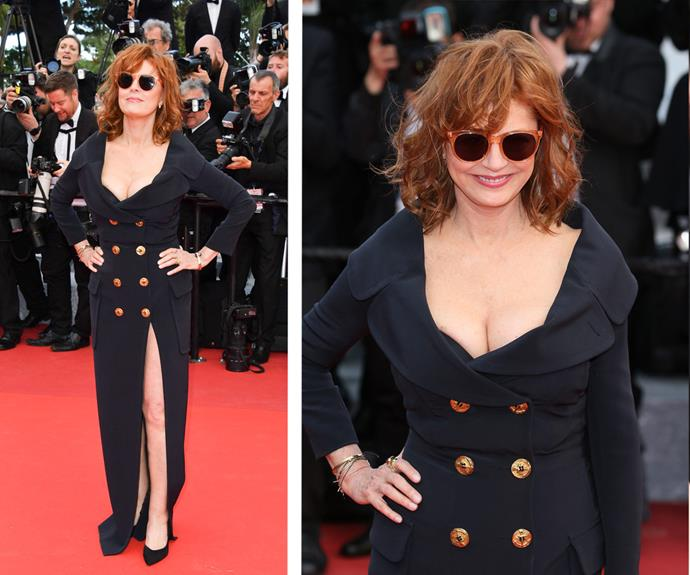 The legendary Susan Sarandon rocked a double breasted, buttoned gown with statement shades.