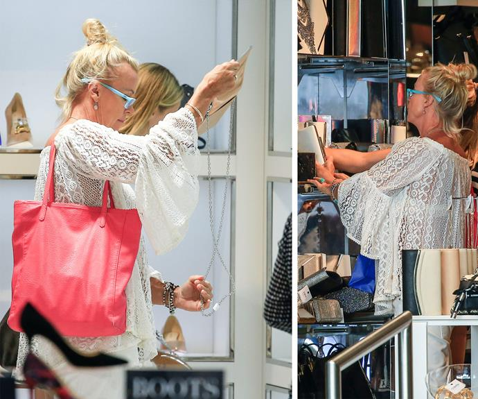 The 54-year-old was spotted shopping up a storm, inspecting prospective wedding heels and accessories with her daughter.