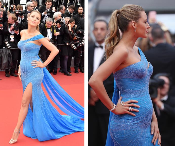 The Queen of Cannes, Blake Lively, showed off her burgeoning baby bump in the jaw-dropping, sky-blue beaded gown.