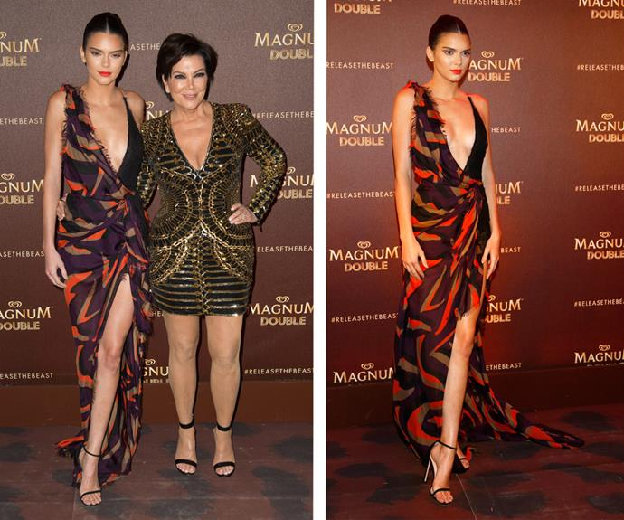 Kendall outdid herself once again in a daring plunge dress alongside momager, Kris Jenner.