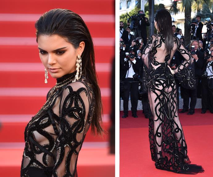 Kendall Jenner bared all in a sheer, black Cavalli Couture number.