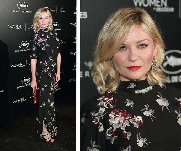 Kirsten Dunst was a vision in a ballerina embroidered frock.