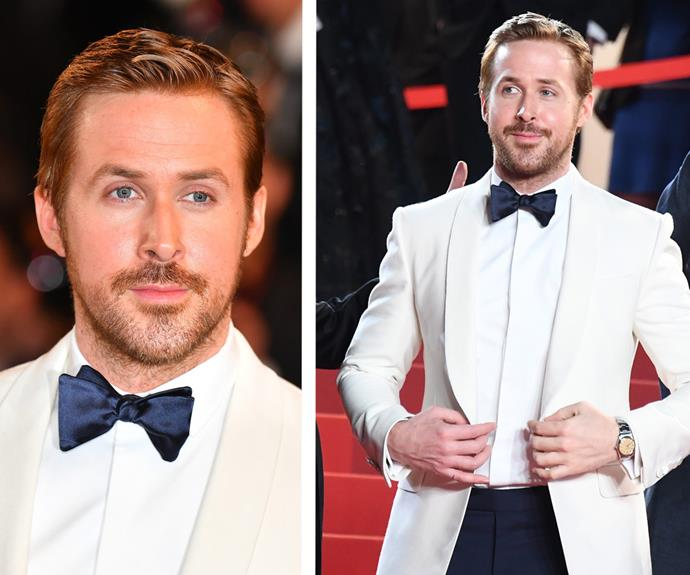 Dashing dad, Ryan Gosling, was everyone's dream in a white tux with navy silk bow-tie.