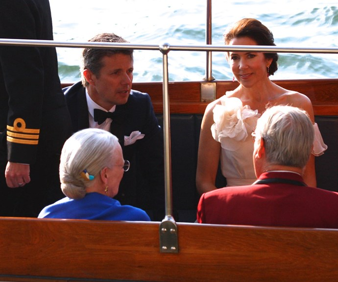 The parents-of-four joined Prince Henrik and Queen Margrethe on a yacht as they made their way to the Jubilee Ball.