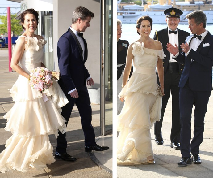 The stunning Princess Mary and husband Prince Frederik arrived at the Opera House in Copenhagen, Denmark in honour of the Royal Danish Yacht Club's 150th anniversary.