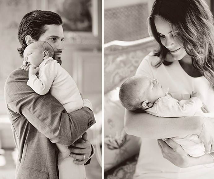 The parents released these stunning new photos with their tiny Prince, taking to the Swedish Royal Family's Facebook page to thank everyone for their well wishes. (Images via/www.kungahuset.se)