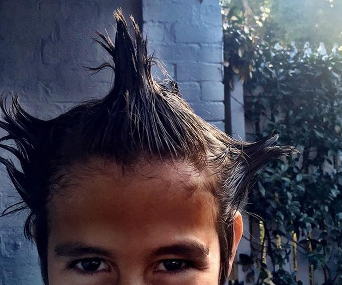 """""""Crazy hair day at school!"""" Mum Susan Carland captioned this sweet pic of their son."""