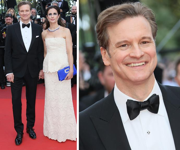 Colin Firth alongside his wife, Livia, walked the Cannes red carpet looking noticeably slimmer on Monday.  The star, who will reprise his role as Marc Darcy in the upcoming Bridget Jones's Baby, looked sharp in a black tuxedo, with his weight loss apparent in his face.