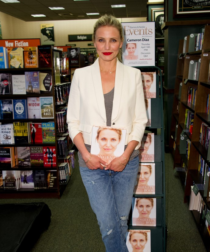 The actress is attending interviews and signings to promote her new book.