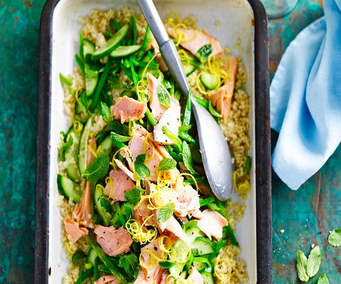"Try this [salmon and quinoa salad by out friends over at Food To Love!](http://www.foodtolove.com.au/recipes/salmon-and-quinoa-salad-16886|target=""_blank"")"